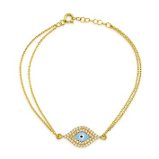 Bling Jewellery Gold Plated 925 Silver Evil Eye Bracelet with CZ