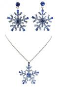 Blue Frozen Snowflake Necklace Earrings Set Brilliance Rhinestone Crystal C34