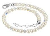 925 Sterling Silver. Crystal Elements Freshwater Pearl and Clear Adjustable Anklet