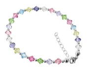 925 Sterling Silver. Crystal Elements Multicolor s Adjustable Anklet