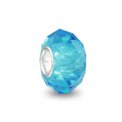 Bling Jewellery Simulated Turquoise Glass 925 Silver Faceted Crystal Bead Fits Pandora