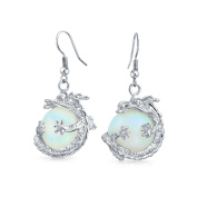 Bling Jewellery Simulated Opalite Glass Orb Chinese Dragon Earrings Rhodium Plated