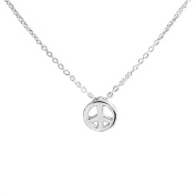 Bling Jewellery Sterling Silver Mini Peace Sign Necklace 41cm