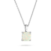 Bling Jewellery Square Synthetic White Opal Pendant Necklace Sterling Silver 41cm