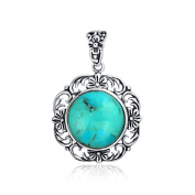 Bling Jewellery Round Turquoise Sterling Silver Flower Gemstone Pendant Necklace