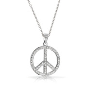 Bling Jewellery CZ 925 Sterling Silver Peace Symbol Pendant Necklace 41cm