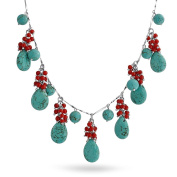 Bling Jewellery Beaded Synthetic Turquoise Synthetic Coral Necklace Rhodium Plated