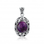 Bling Jewellery Oval Purple Turquoise Oxidised Sterling Silver Pendant Necklace