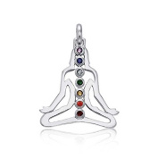 Bling Jewellery Buddha Chakra 925 Sterling Silver Pendant Multi Colour CZ Stones