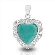 Bling Jewellery Filigree Simulated Turquoise Heart Pendant 925 Sterling Silver