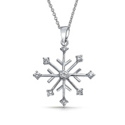Bling Jewellery Sterling Silver Snowflake Cubic Zirconia Necklace 41cm