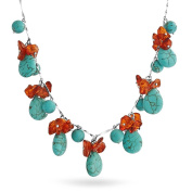 Bling Jewellery Simulated Turquoise Simulated Amber Nugget Necklace Rhodium Plated