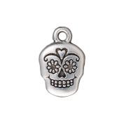 TierraCast Silver Plated Pewter Dia De Los Muertos Sugar Skull Pendant Charm 19mm
