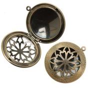 Antiqued Brass Round Celtic Design Window Locket Pendant 32mm