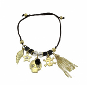 Dainty Slider Cord Bracelet with Gold Tone Skull Charms