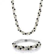 43cm White Cultured Freshwater Pearl & Black Crystal Necklace + Bracelet Set 17cm