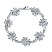 Bling Jewellery Sterling Silver Bracelet Pave Clear CZ Palm Tree 18cm