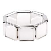 Silver Tone Plastic Stretch Bezel Collage Bracelet 20mm Squares - 7 Inches