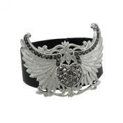 Black Vinyl Winged Rhinestone Heart Bracelet