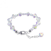 SCBR114 Sterling Silver Clear AB Crystal 18cm - 20cm Bracelet Made with. Elements
