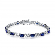 Bling Jewellery Simulated Sapphire CZ Figure Eight Infinity Tennis Bracelet 18cm Rhodium Plated