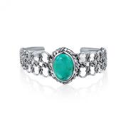 Bling Jewellery Nautical Rope Blue Turquoise 925 Silver Gemstone Cuff Bracelet
