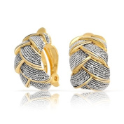 Bling Jewellery 2 Tone Braided Cable Woven Half Hoop Clip On Earrings Gold Plated