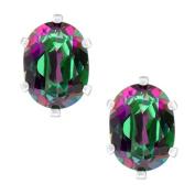 2.90 Ct Oval 8X6mm Mystic Green Topaz 925 Sterling Silver Earrings
