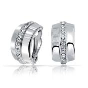 Bling Jewellery Single Row Crystal Half Hoop Clip On Earrings Rhodium Plated