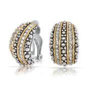 Bling Jewellery Bali Style Beaded Caviar 2 Tone Crystal Half Hoop Clip On Earrings Silver Plated