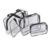 SelfTek 3 Different Size Cosmetic Makeup Toiletry PVC Travel Wash Bag Holder Pouch Set Kit Clear