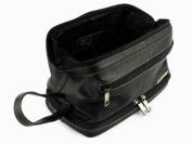 Mens Rowallan Black Leather Top Frame Wash Bag Travel Toiletries Travel .