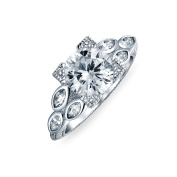 Bling Jewellery Sterling Silver Vintage Style 2ct CZ Round Marquise Engagement Ring