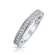 Bling Jewellery 925 Sterling Silver CZ Vintage Style Milgrain Wedding Band