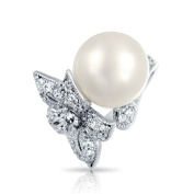 Bling Jewellery Simulated Pearl Pave CZ Tropical Flower Cocktail Rings 12mm Rhodium Plated