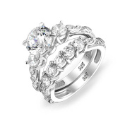 Bling Jewellery Sterling Silver Vintage Style Round Cut CZ Engagement Wedding Ring Set