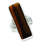 Sterling Silver Rectangle Tiger Eye Ring - Size 9