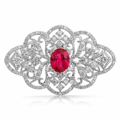 Bling Jewellery Oval Red Simulated Ruby CZ Victorian Style Flower Brooch Pin Rhodium Plated