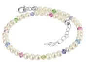 925 Sterling Silver. Crystal Elements Freshwater Pearl Multicolor s 23cm - 25cm Anklet