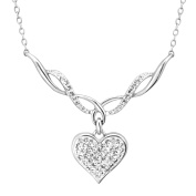 Heart Necklace with. Crystal in Sterling Silver