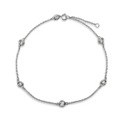 Bling Jewellery CZ by the Inch Sterling Silver Cubic Zirconia Anklet 23cm