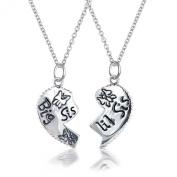 Bling Jewellery Sterling Silver Sisters Split Heart Butterfly Pendant Necklace Set 41cm
