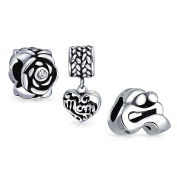 Bling Jewellery Sterling Silver Mom Child Heart Rose Flower Bead Set Fits Pandora