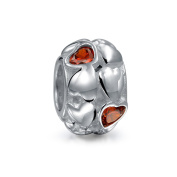 Bling Jewellery 925 Silver Simulated Garnet CZ January Birthstone Hearts Bead Fits Pandora