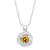 1/2 ct Natural Citrine & Created White Sapphire Pendant in Sterling Silver