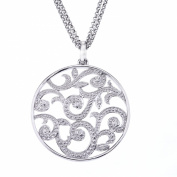 Diamond Scroll Circle Pendant in Sterling Silver