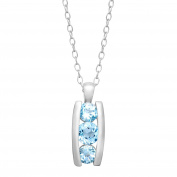 2 1/8 ct Natural Sky Blue Topaz Pendant in Sterling Silver over Brass