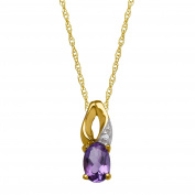 3/8 ct Natural Amethyst Pendant with Diamond in 10K Yellow Gold
