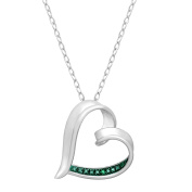 Heart Pendant with Green Diamond in Rhodium Plated Brass