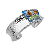 3 3/8 ct Natural Multi-Stone & 1/4 ct Diamond & Butterfly Cuff in Sterling Silver